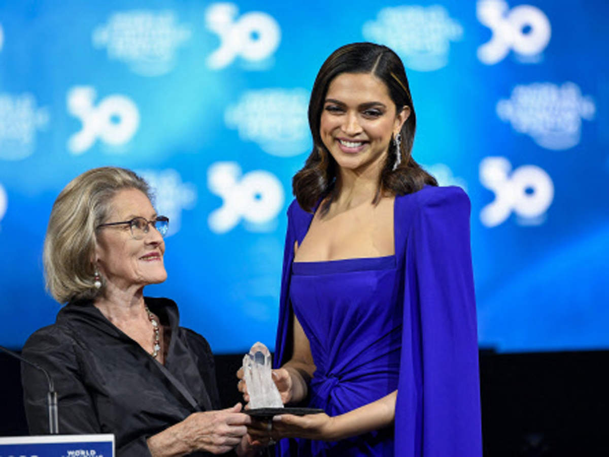 Chairperson and Co-Founder, Schwab Foundation for Social Entrepreneurship presents Annual Crystal Award to actress Deepika Padukone.