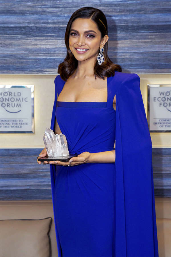 Deepika Padukone poses with her Crytal Award at the World Economic Forum Annual Meeting 2020, in Davos-Klosters, Switzerland.