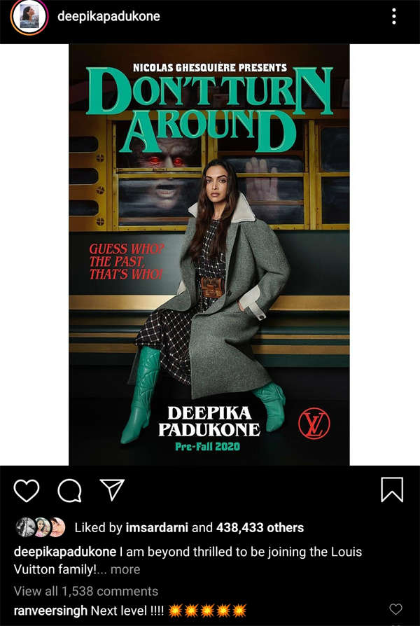 Proud husband ​Ranveer Singh left a comment on Padukone's post.