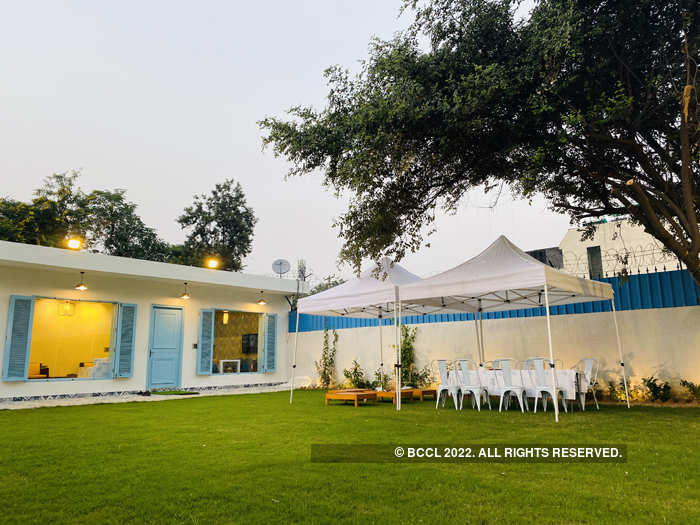 Himanshu Wardhan has set up white canopy tents in the outdoor​ garden​.