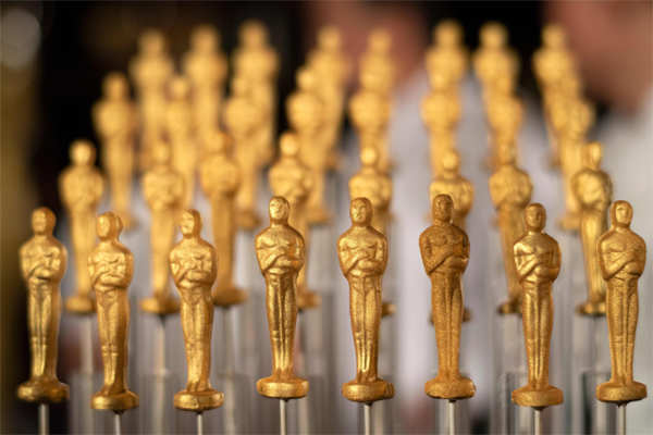 C​hocolate Oscars displayed at the 92nd Annual Academy Awards Governors Ball press preview at the Ray Dolby Ballroom at Hollywood & Highland Center, in California.