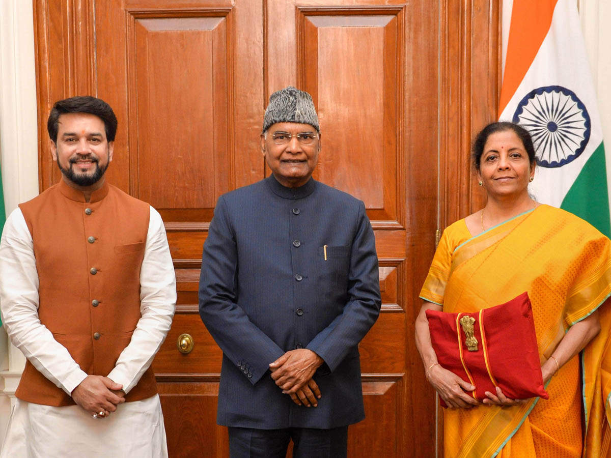 As per tradition, Finance Minister Nirmala Sitharaman (R) called called on President Ram Nath Kovind (C) before presenting the Union Budget 2020-21 with MoS for Finance Anurag Thakur (L) at Rashtrapati Bhavan, New Delhi.