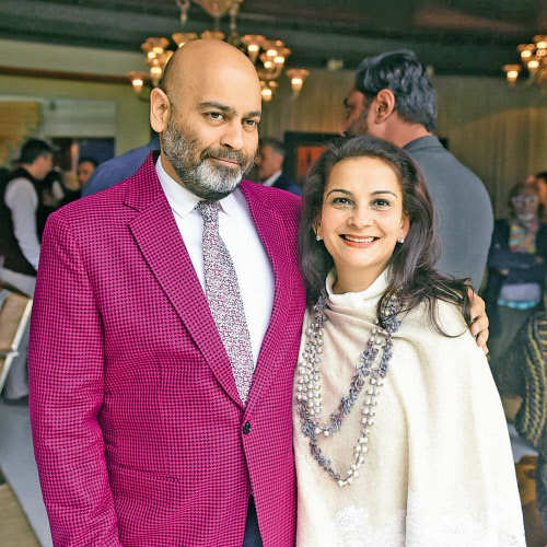 Anupam Poddar (L) at the lunch hosted by Shalini and Sanjay Passi as part of the India Art Fair 2018 Collectors' Programme in Delhi.