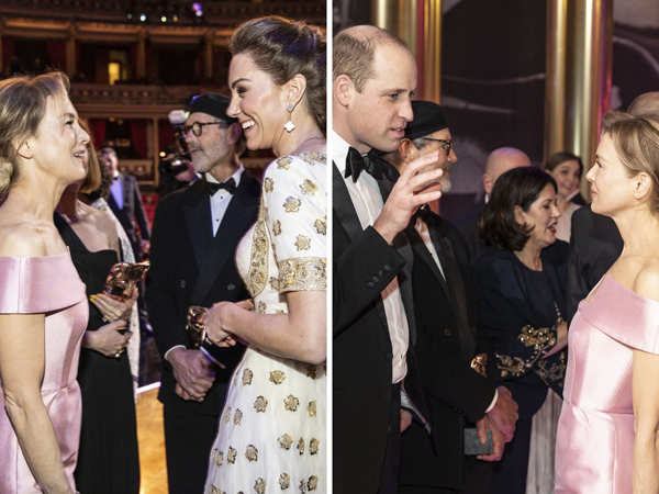 Best Actress winner Renee Zellweger was spotted interacting with Prince William and Kate Middleton.