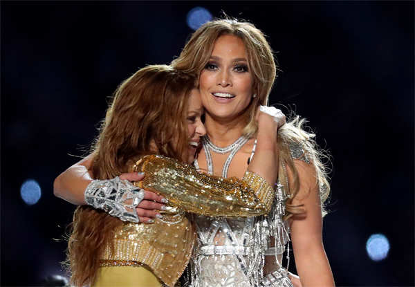 Jennifer Lopez and Shakira turned the Super Bowl halftime show into a giant Latin dance party.