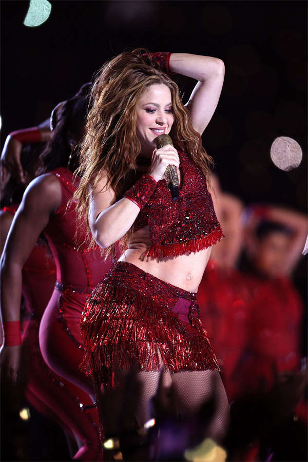 Shakira opened the halftime show, getting the crowd of 65,000 on their feet with 'She Wolf' and 'Wherever, Whenever'.