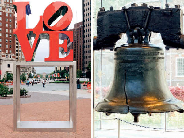 LOVE Park (L) and Liberty Bell, Independence National Historical Park