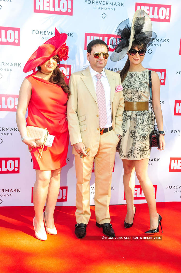 (L-R) Delna Poonawalla, Yohan Poonawalla and Michelle Poonawalla in their fashionable best at the Hello! Classic Cup 2014 held at Mahalaxmi Race Course, Mumbai.