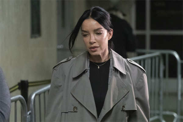 Mexican model Claudia Salinas leaves court after testifying in Harvey Weinstein's rape trial.
