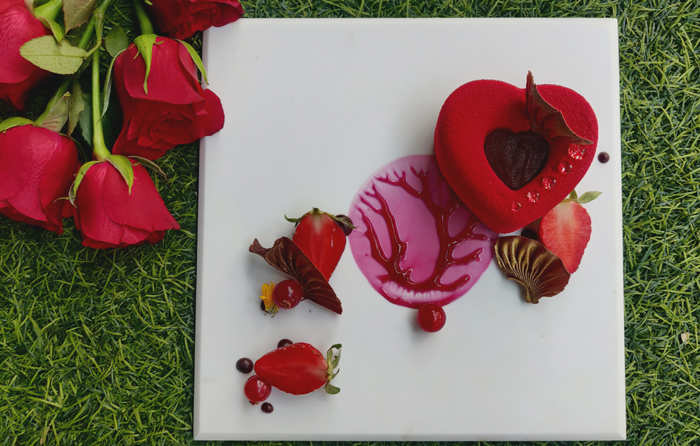 Exotic strawberry passion fruit dessert infused with mint leaves Mojito