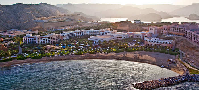 Aerial view of the Shangri-La Group of Hotels in Oman.