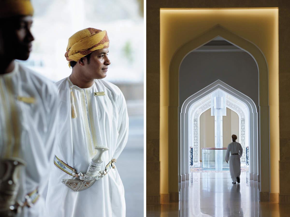 Omani doormen dressed in their best greet their guests at Shangri-La.