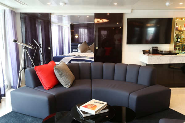 ​The Mega Rockstar suite onboard the Virgin Voyages Scarlet Lady cruise liner.​