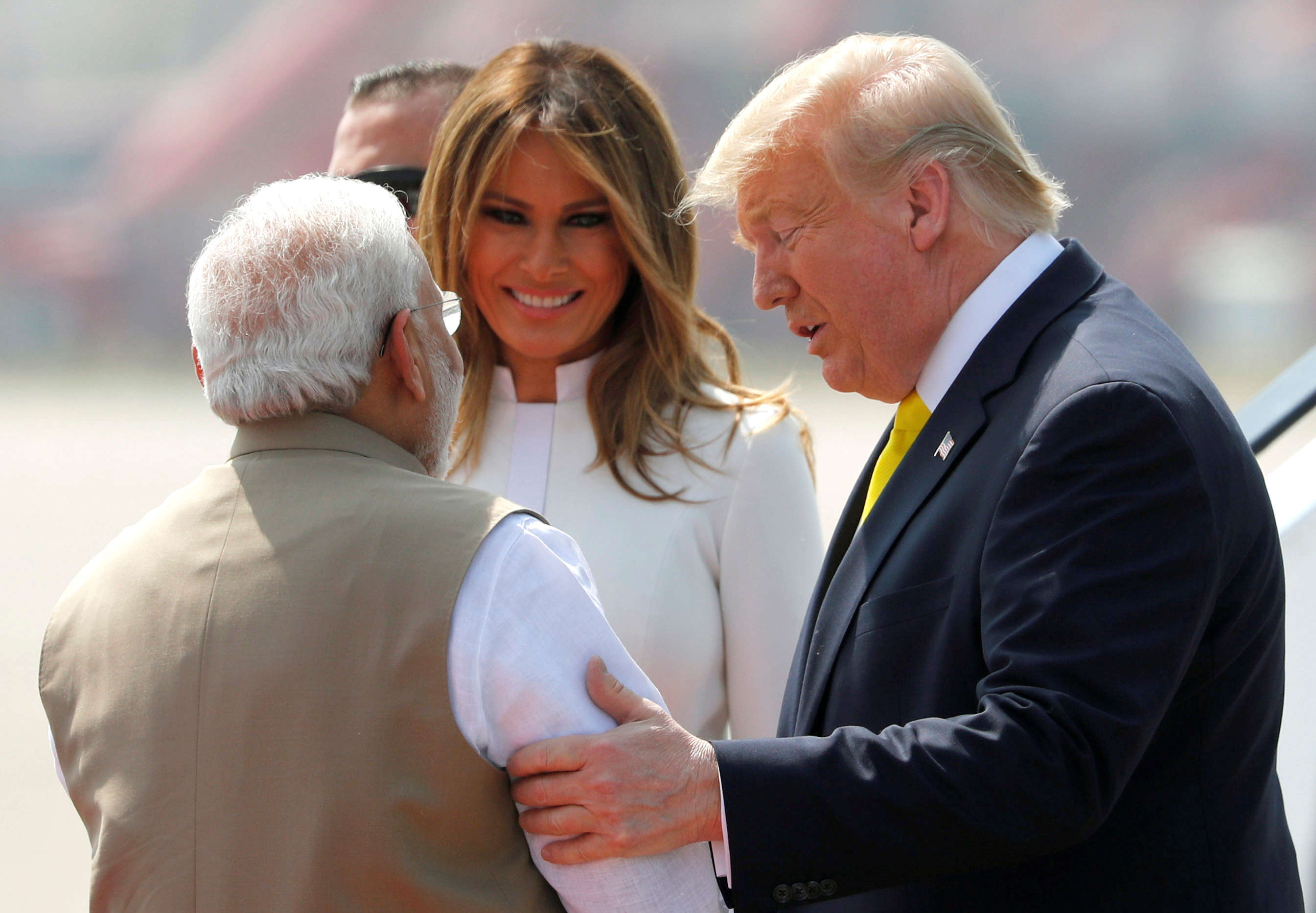 Image result for Images, People of India come out to listen to President Trump