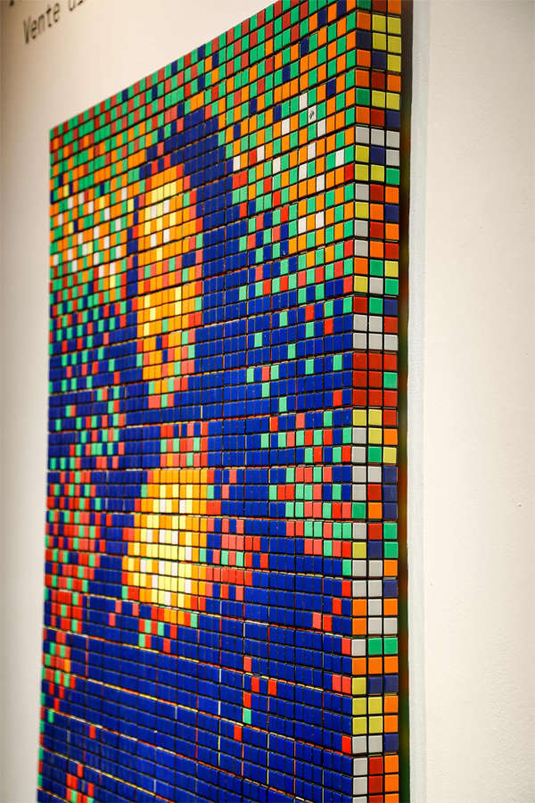 ​The artwork by street artist Franck Slama is made out of nearly 300 Rubik's Cubes.