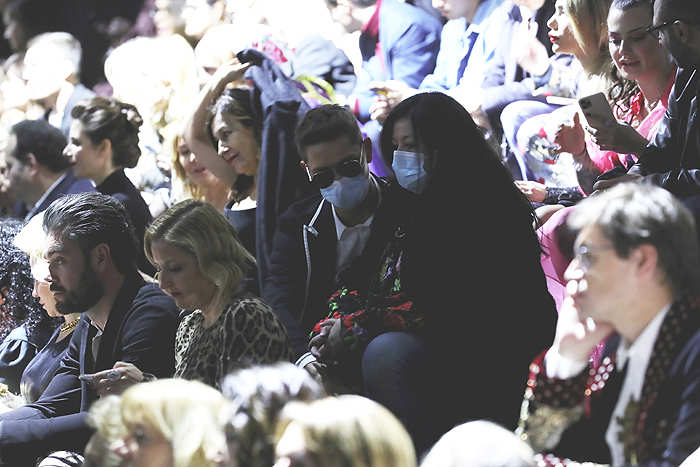 Guests wearing antivirus mask at the Dolce e Gabbana fashion show as part of Milan Fashion Week Fall/Winter 2020-2021 in Italy.