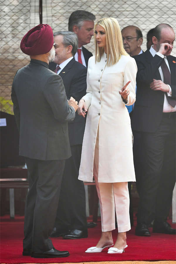Ivanka Trump joins foreign dignitaries like Kate Middleton, Sophie Trudeau, and Hillary Clinton in picking an outfit by designer Anita Dongre.