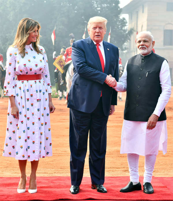 US President Donald Trump and First Lady Melania Trump with Prime Minister Narendra Modi during a ceremonial reception at the Rashtrapati Bhavan in New Delhi.
