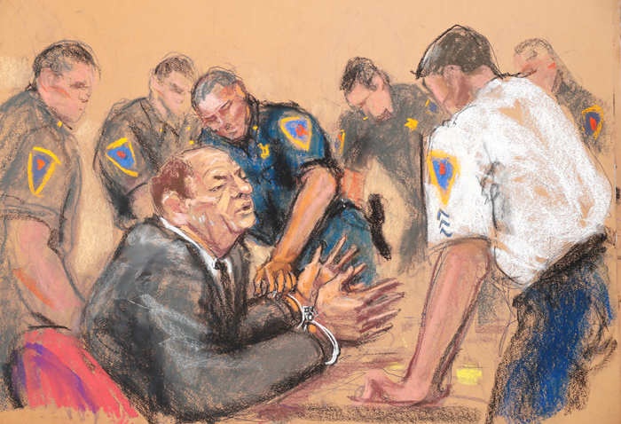 Film producer Harvey Weinstein is handcuffed after his guilty verdict in his sexual assault trial at the New York Criminal Court in New York City in this courtroom sketch.