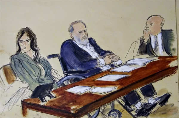 In this courtroom sketch, Harvey Weinstein, center, flanked by his defense attorneys, listens during his sentencing in a Manhattan courtroom, in New York. 