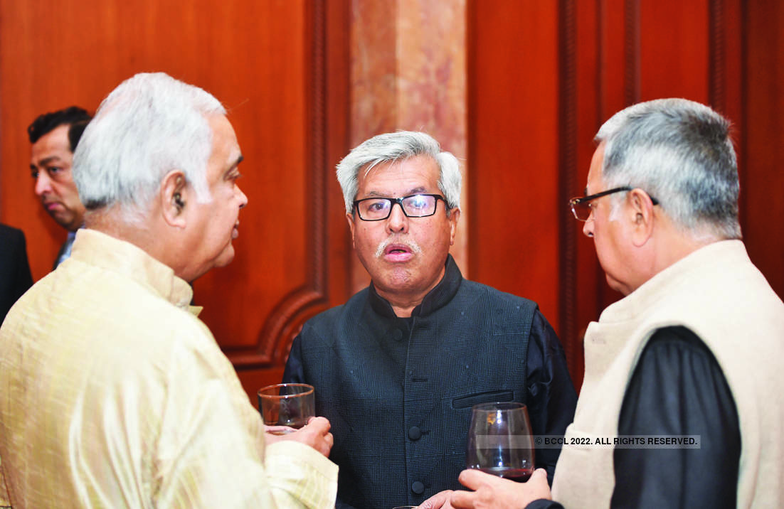 File photo of 2017: Dushyant Dave (C) at a party hosted by Cyril and Vandana Shroff to mark the completion of 100 years of their Mumbai-based law firm in Delhi
