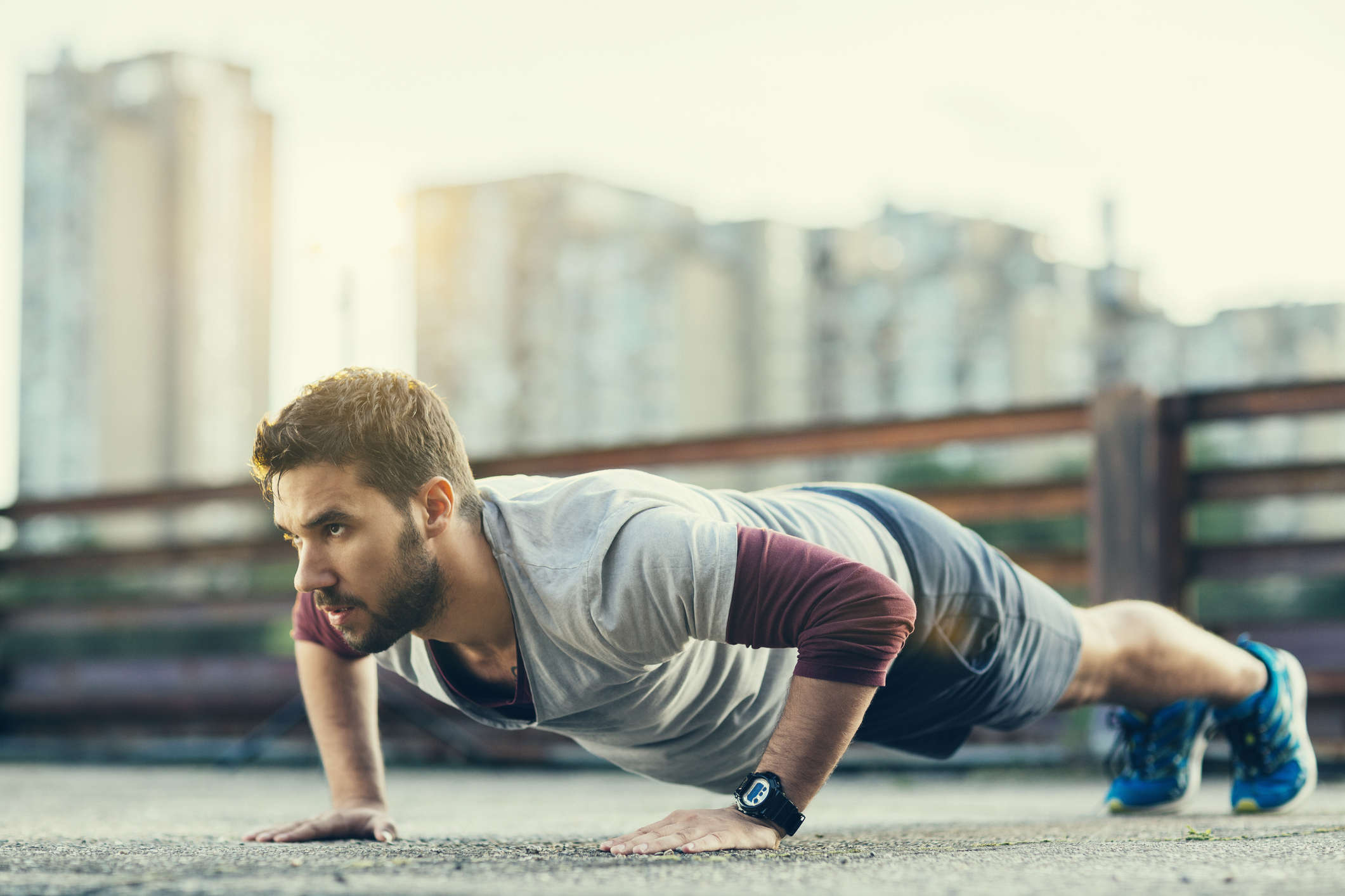 Pull yourself down to the floor slowly, focusing on squeezing your shoulder blades together and stretching your chest.