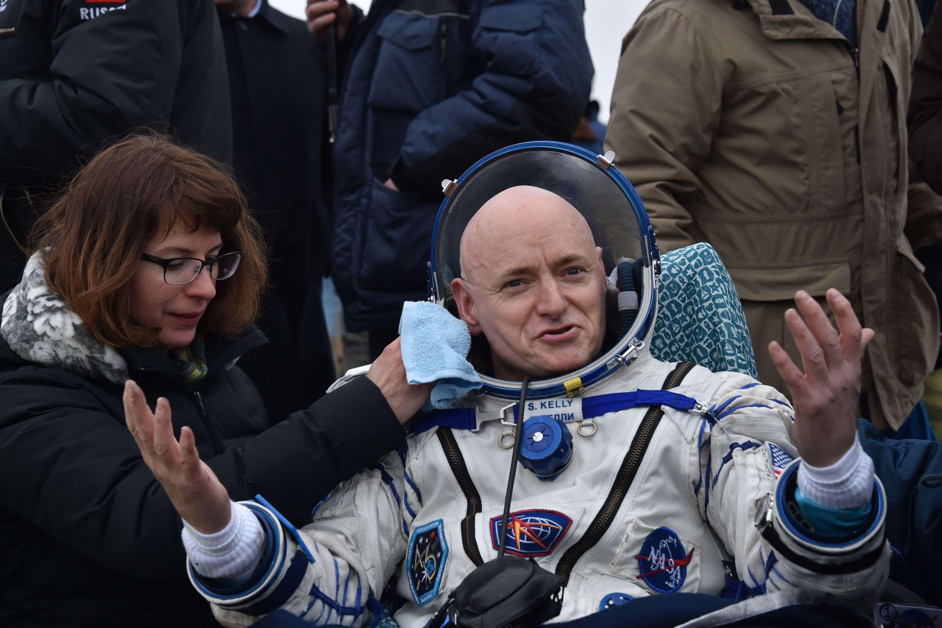 File photo of March 2016: International Space Station crew member Scott Kelly of the U.S. reacts after landing near the town of Dzhezkazgan after spending almost a year in space.