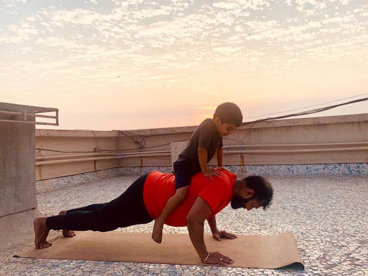 Karan Gupta's son is his workout buddy