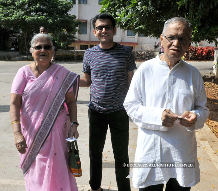 Sudhar Murty, Rohan Murty and NR Narayana Murthy step out to vote during the second phase of Lok Sabha elections in Bengaluru in April 2019.