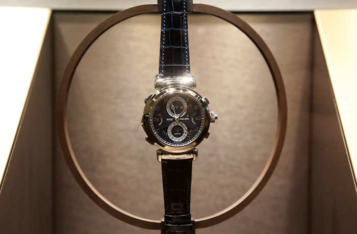 ​A Patek-Philippe Grandmaster Chime watch displayed at the 2019 Baselworld luxury watch and jewellery fair in Basel, Switzerland.​