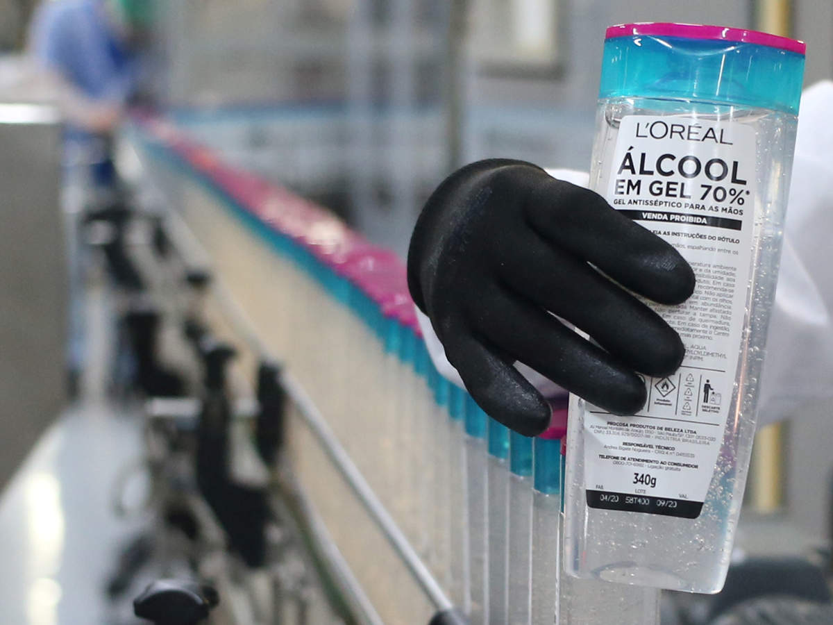 A bottle of ethanol-based hand sanitizers at the L'Oreal Brasil plant for donation to hospitals and poor communities during the coronavirus outbreak in Sao Paulo, Brazil
