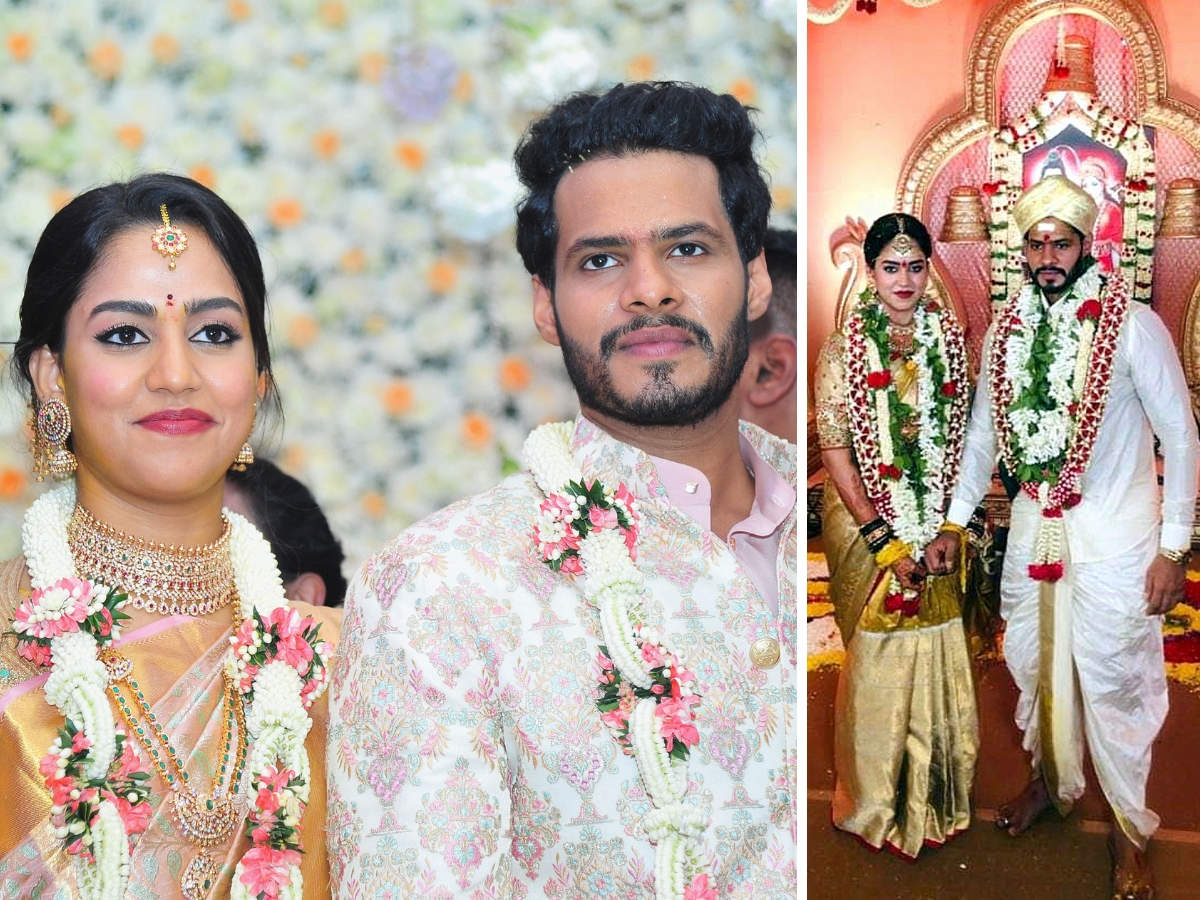 Nikhil Gowda with his wife Revathi pose for photographers during their marriage ceremony amid the nationwide lockdown to curb the spread of coronavirus, in Bengaluru.