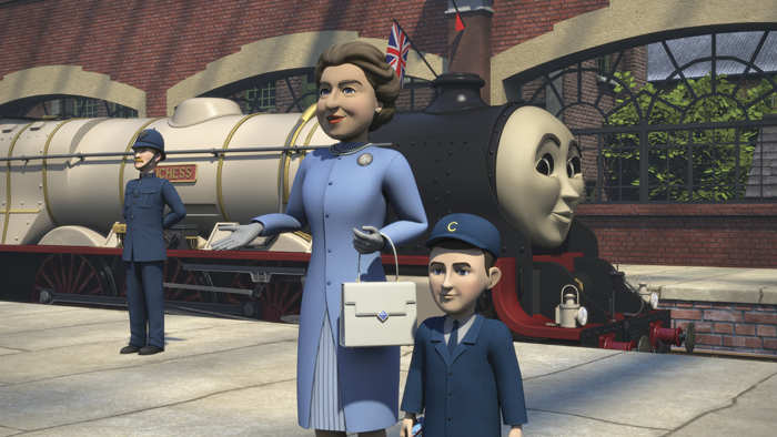 'Thomas and Friends: The Royal Engine' has a storyline that includes Prince Harry's father and grandmother, Prince Charles and Queen Elizabeth II, as animated characters. 