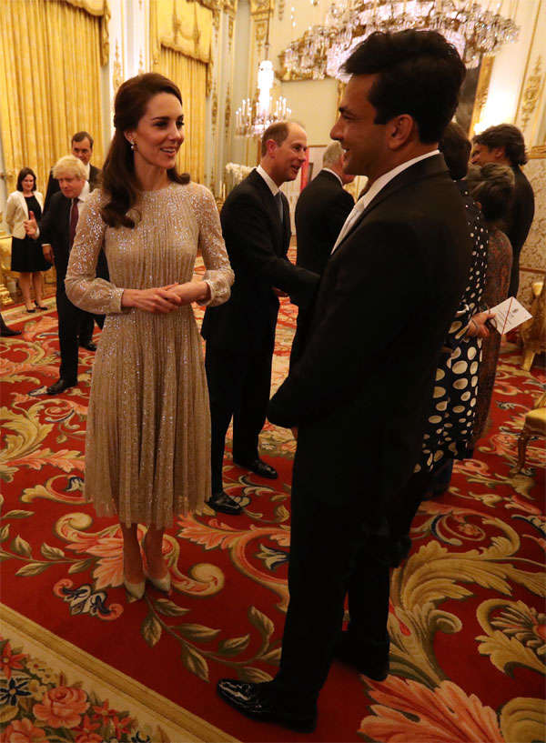 Catherine, Duchess of Cambridge speaks to chef Vikas Khanna (R) at a reception to mark the launch of the UK-India Year of Culture 2017 in London, England. 
