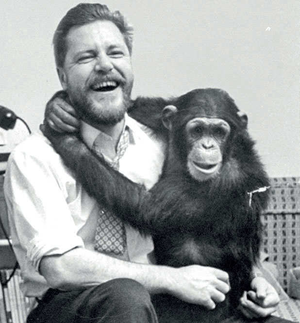 Gerald Durrell with his pet chimpanzee.