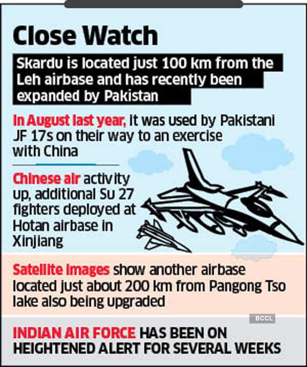 """1 """"title ="""" 1 """"/>    <figcaption/></figure> <p><strong>  Imágenes de satélite </strong><br /> <br />  Mientras que el PLAAF pudo compensar la altitud mediante el uso de aviones cisterna, los planificadores militares indios siempre fueron cautelosos en un momento de conflicto, las bases de la fuerza aérea podían para ser entregado a China en PoK. </p> <p>  Las fuentes dicen que hay una actividad limitada en la Base de la Fuerza Aérea de Skardu, y hace unos días un buque cisterna PLAAF IL 78 aterrizó junto a algunos aviones de transporte de la Fuerza Aérea de Pakistán. Skardu está a solo 100 km del aeropuerto de Leh y recientemente ha sido ampliado por Pakistán. </p><div class="""