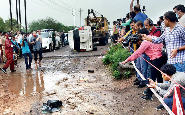 Police cordons the site where Dubey was killed near Kanpur on July 10