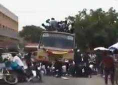 On cam: Students fall off the top of a moving bus in Chennai