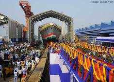 'Himgiri', the first of the three Project 17A ships being built at GRSE launched