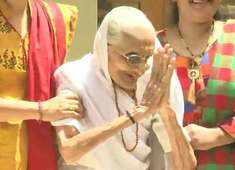 PM's mother greets supporters outside her residence in Gandhinagar
