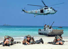 Assets of the Army, Navy, Air Force and Coast Guard come together to send a signal