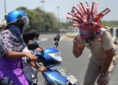 Chennai cops use 'Corona' helmet to raise awareness on Covid-19