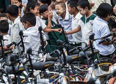Recycled bikes get Myanmar kids to school