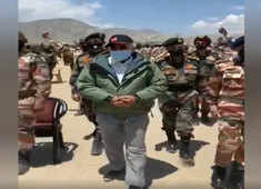 Visuals: PM Modi briefed by officials in Nimmoo, Ladakh; soldiers chant 'Bharat Mata ki Jai'