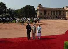 Delhi: Guard of Honour accorded to President of Zambia Edgar Lungu at Rashtrapati Bhavan