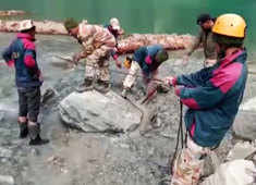 Watch: ITBP removes obstacles from lake formed in Chamoli