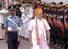 Independence Day: PM Modi inspects the Guard of Honour at Red Fort