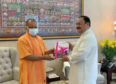 UP CM Yogi Adityanath calls on BJP chief JP Nadda after meeting PM Modi