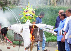 Watch: BJP workers burn corona effigy to celebrate launch of Covid vaccination drive