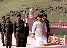J&K: Rajnath Singh visits Kargil War Memorial in Dras